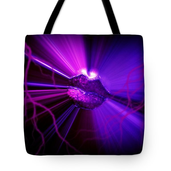 Tote Bag featuring the photograph Electric Lips by Amanda Eberly-Kudamik