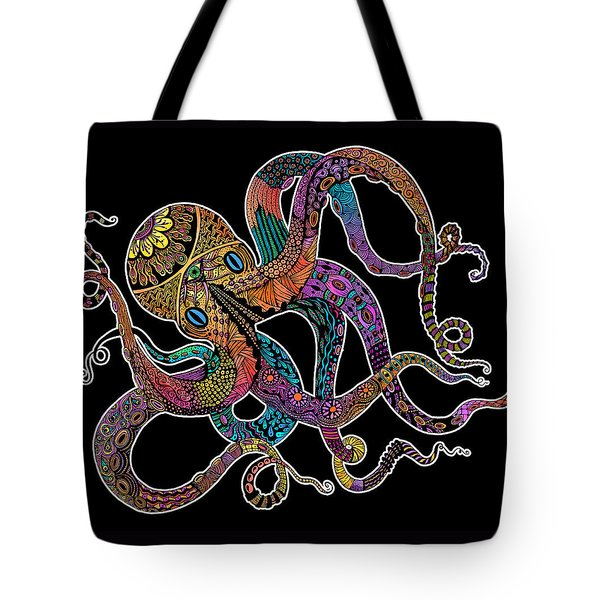 Electric Octopus On Black Tote Bag