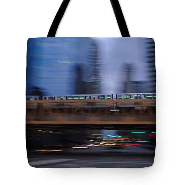 Electric Train Crossing A Bridge Tote Bag