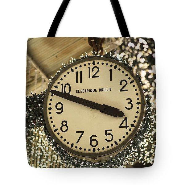 Electrique Brillie Clock In Chelsea Market Tote Bag by Rona Black