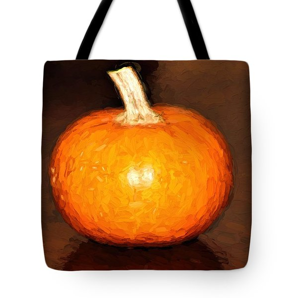 Tote Bag featuring the painting Elegant Autumn Orange Pumpkin Rustic Table Painting by Tracie Kaska