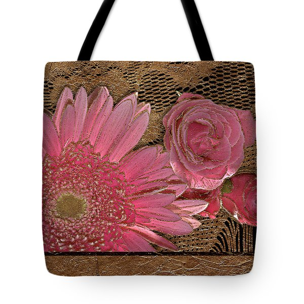 Elegant Gold Lace Tote Bag by Phyllis Denton