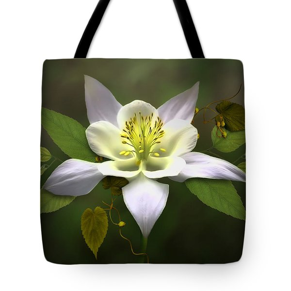 Elegant White Columbine Tote Bag by Nina Bradica