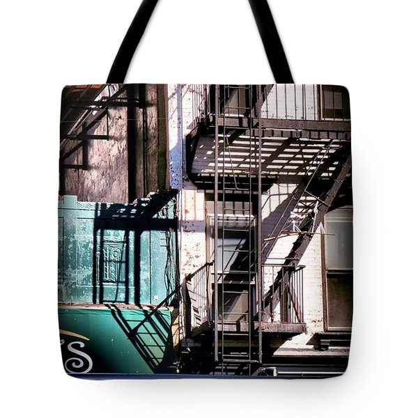 Elemental City - Fire Escape Graffiti Brownstone Tote Bag by Miriam Danar