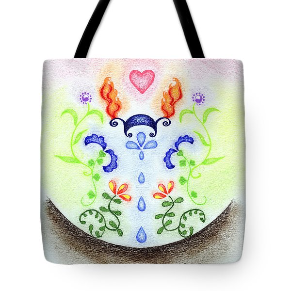 Tote Bag featuring the drawing Elements by Keiko Katsuta
