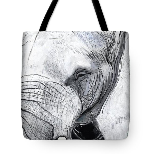 Tote Bag featuring the painting Elephant 1 by Jeanne Fischer