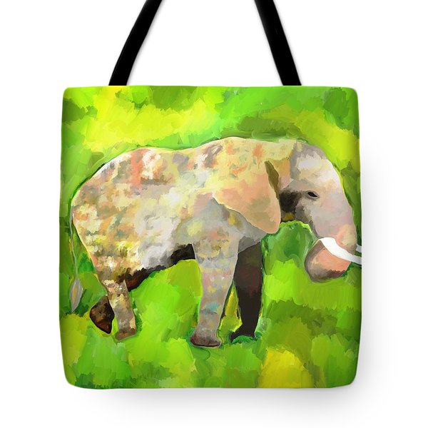 Tote Bag featuring the painting Elephant 4 by Jeanne Fischer