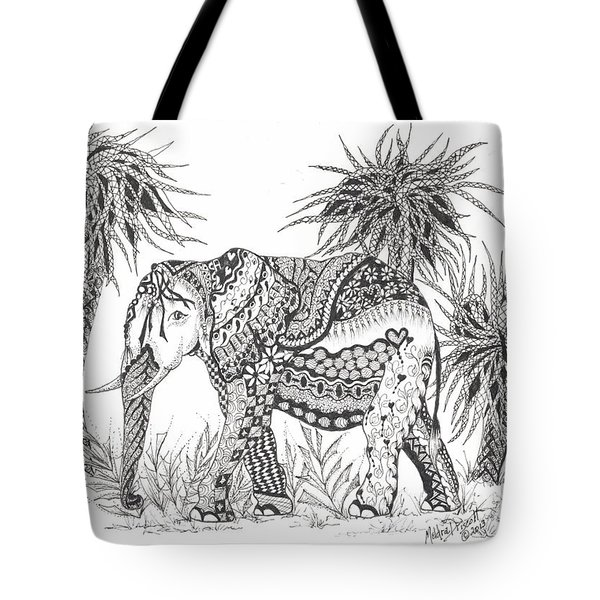 Elephant And Trees Zentangled Tote Bag