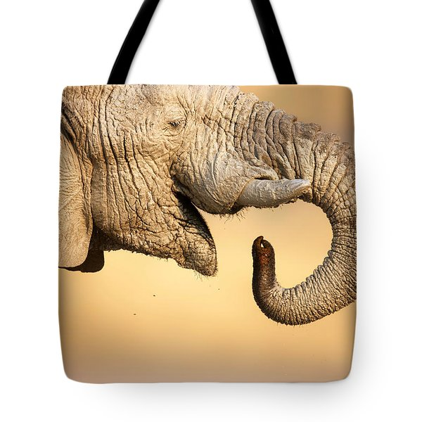 Elephant Drinking Tote Bag by Johan Swanepoel