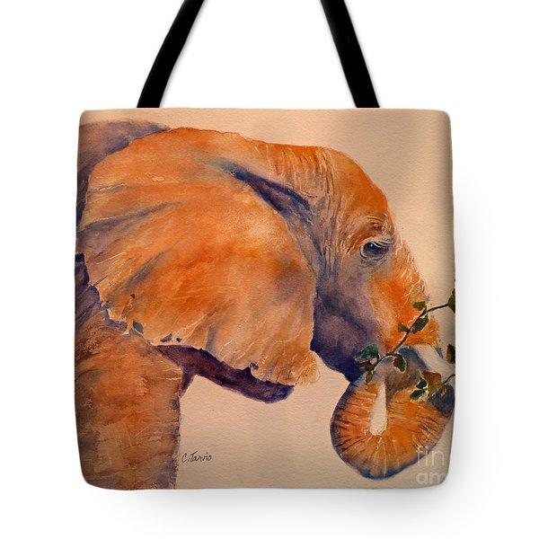 Elephant Eating Tote Bag