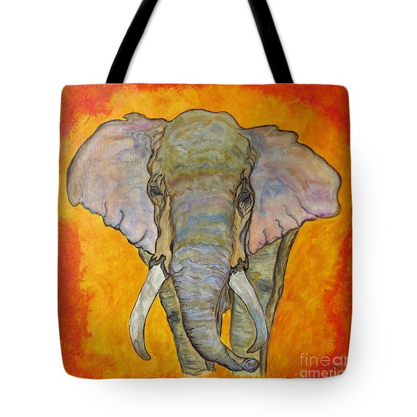 Tote Bag featuring the painting Elephant by Ella Kaye Dickey