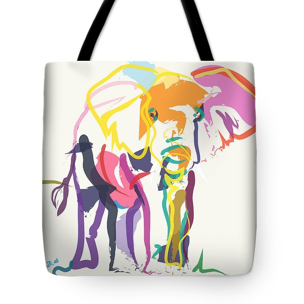 Tote Bag featuring the painting Elephant In Color Ecru by Go Van Kampen