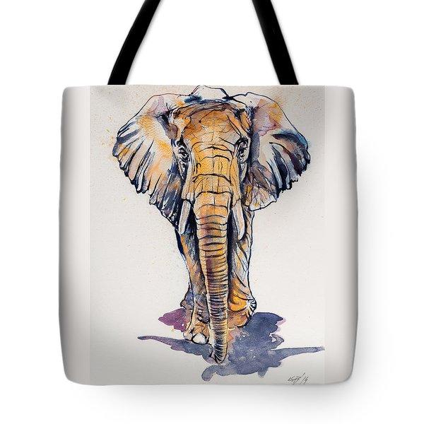 Elephant In Gold Tote Bag by Kovacs Anna Brigitta