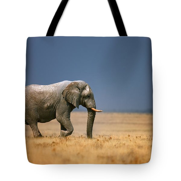 Elephant In Grassfield Tote Bag