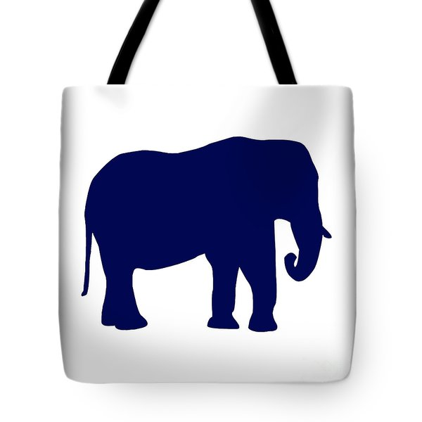 Elephant In Navy And White Tote Bag