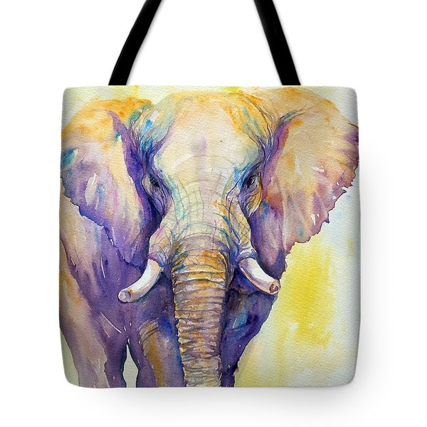 Elephant In Purple Tote Bag