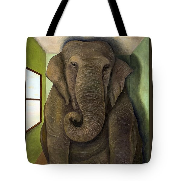 Elephant In The Room Wip Tote Bag by Leah Saulnier The Painting Maniac