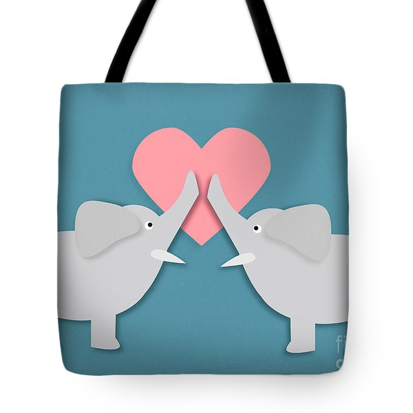 Elephant Love Tote Bag by Sharon Dominick