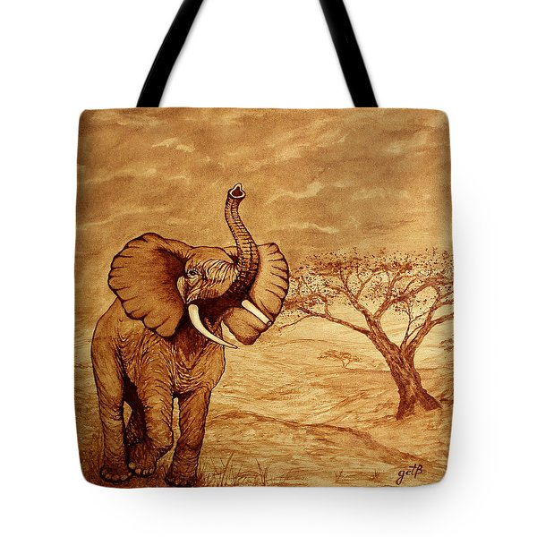 Tote Bag featuring the painting Elephant Majesty Original Coffee Painting by Georgeta  Blanaru