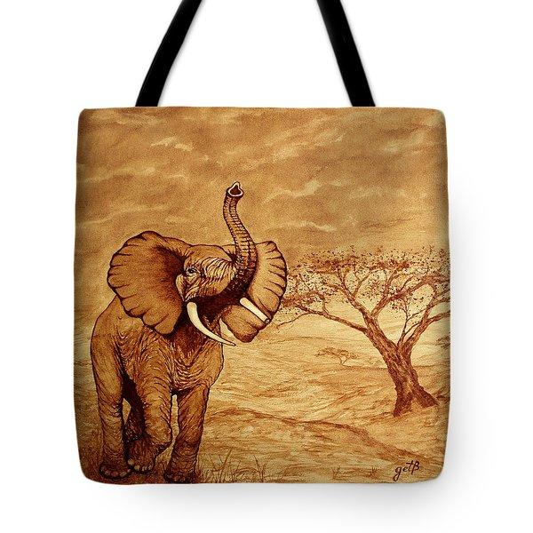 Elephant Majesty Original Coffee Painting Tote Bag by Georgeta  Blanaru