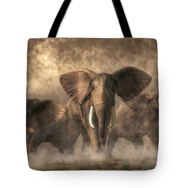 Elephant Stampede Tote Bag