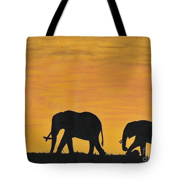 Elephants - At - Sunset Tote Bag