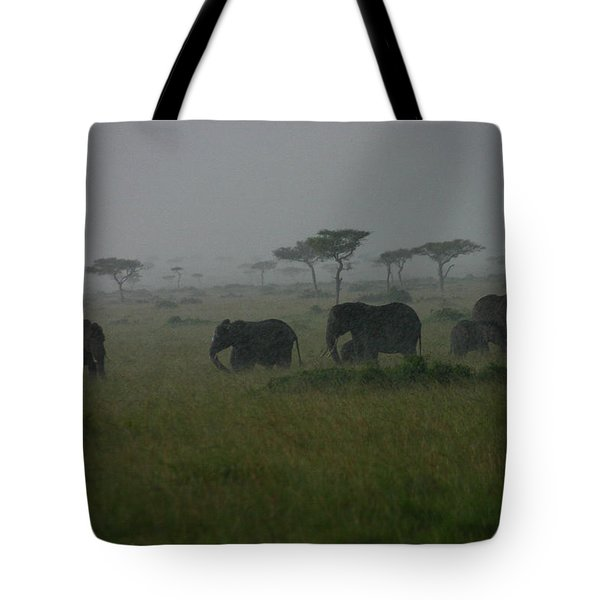 Elephants In Heavy Rain Tote Bag