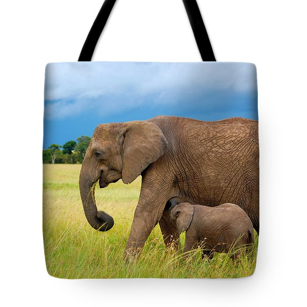 Elephants In Masai Mara Tote Bag by Charuhas Images