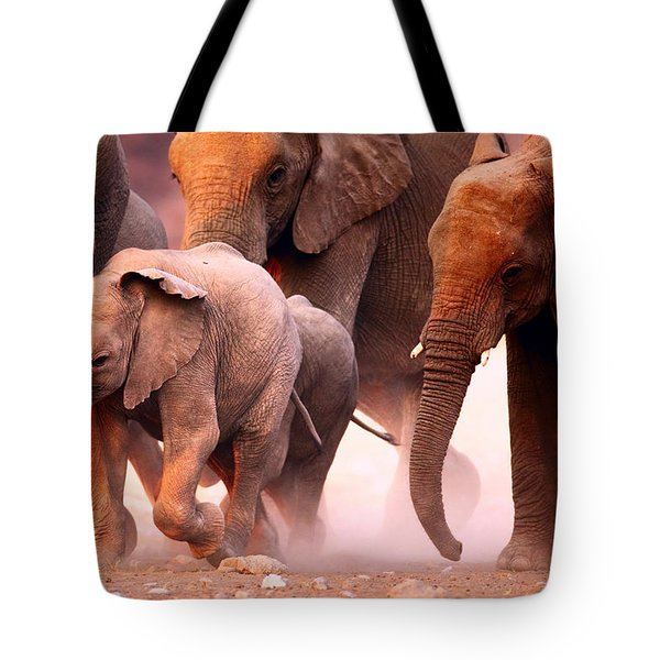 Elephants Stampede Tote Bag