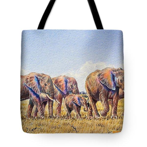 Elephants Walking Tote Bag
