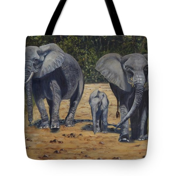 Elephants With Calf Tote Bag by Caroline Street