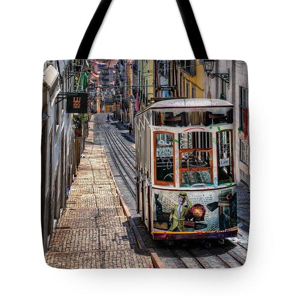 Elevador Da Bica Lisbon Tote Bag by Carol Japp
