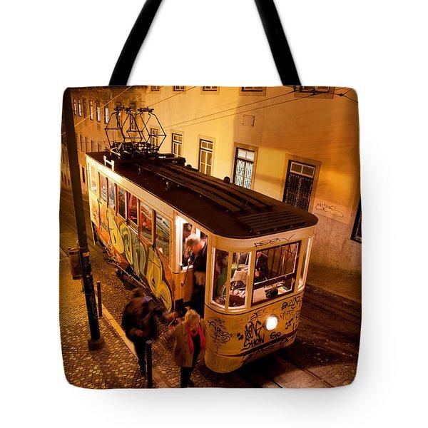 Elevador Da Gloria At Night In Lisbon Tote Bag