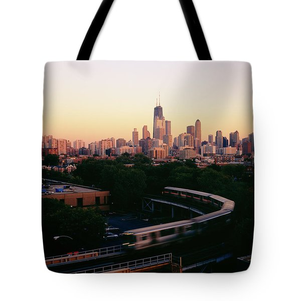Elevated Train In Downtown Chicago Tote Bag
