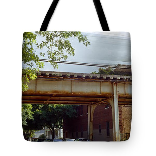 Elevated Train On A Bridge, Ravenswood Tote Bag