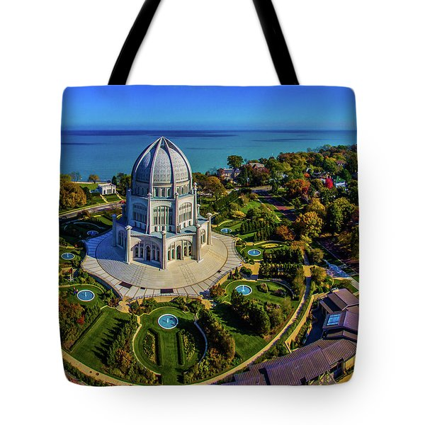 Elevated View Of Bahai Temple Tote Bag
