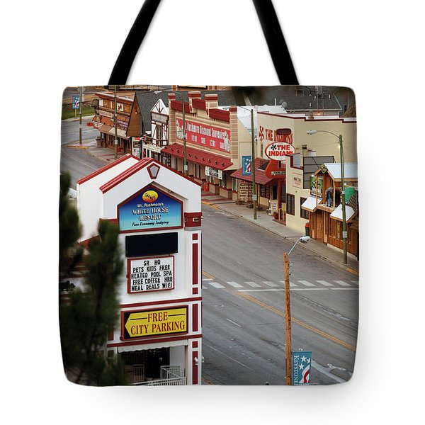 Elevated View Of Buildings Along Street Tote Bag