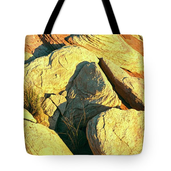 Elevated View Of Rock Formations Tote Bag