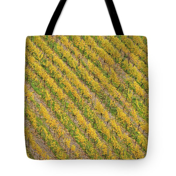 Elevated View Of Vineyard In Autumn Tote Bag