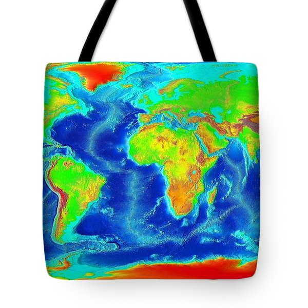 Elevation Map Of The World Tote Bag