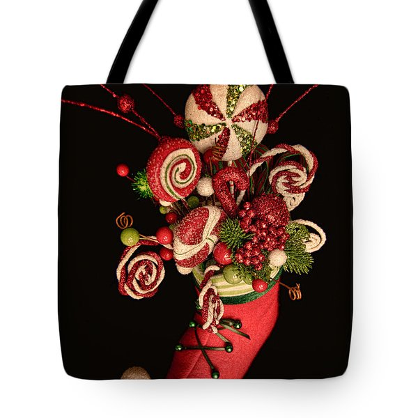 Tote Bag featuring the photograph Elf Boot Merry Christmas by Photography by Laura Lee