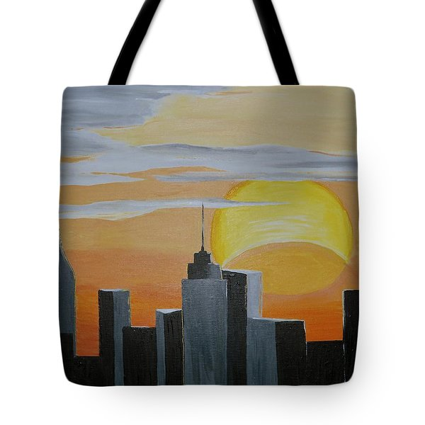Tote Bag featuring the painting Elipse At Sunrise by Donna Blossom