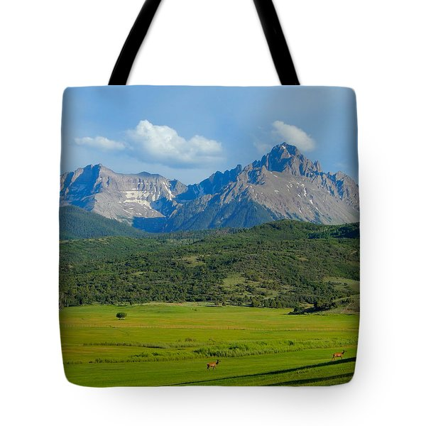 Elk Below Mount Sneffels Tote Bag
