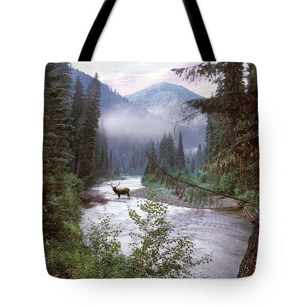 Elk Crossing 2 Tote Bag by Leland D Howard