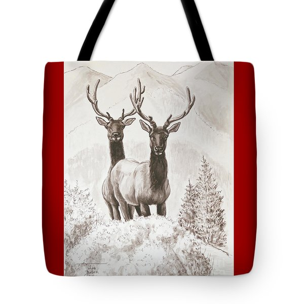 Elk Encounter Tote Bag