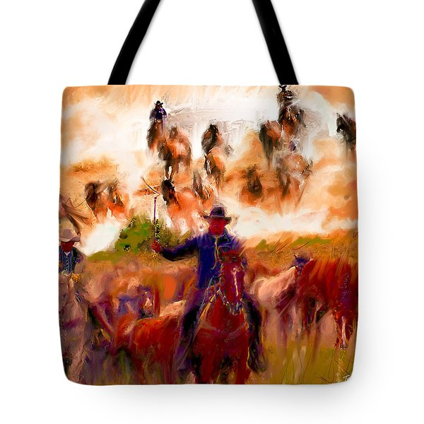 Tote Bag featuring the painting Elk Horse Round Up by Ted Azriel