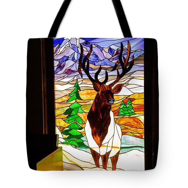 Elk Stained Glass Window Tote Bag by Robert Bales