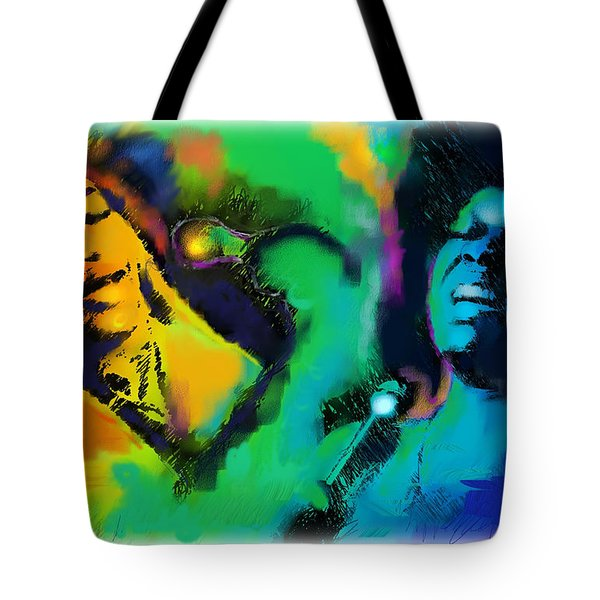 Tote Bag featuring the painting Ella And Sara by Ted Azriel