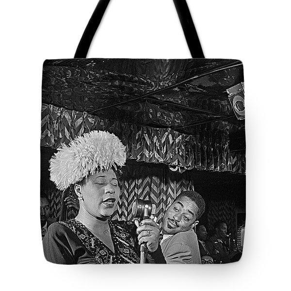 Ella Fitzgerald And Dizzy Gillespie William Gottleib Photo Unknown Location September 1947-2014. Tote Bag