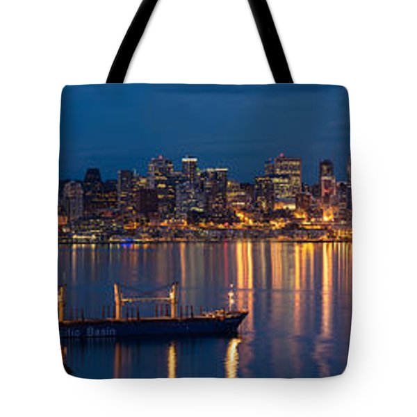 Elliott Bay Seattle Skyline Night Reflections  Tote Bag by Mike Reid